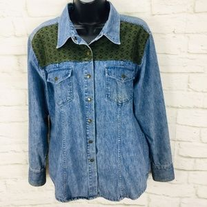 Vintage Telluride Blue Denim Snap Shirt Large